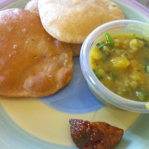 Poori Bhaji With Curd & Tea or Coffee