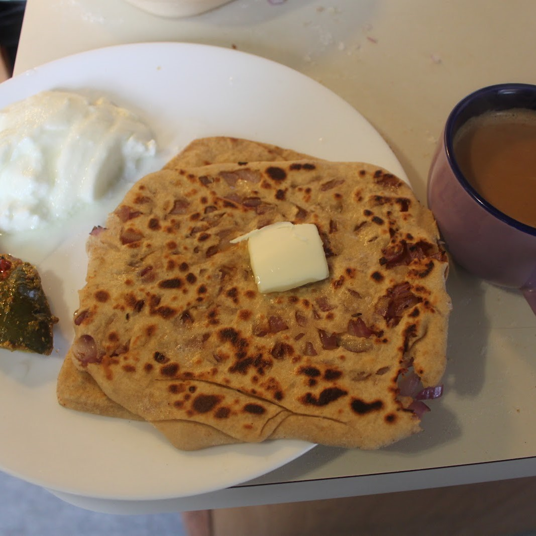 Stuffed Paratha With Curd & Hot Tea or Coffee