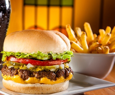 Veg. Cheese Burger Served With Fries